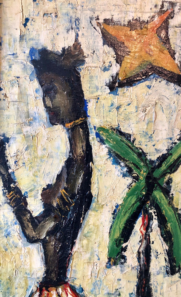 French Expressionist Impasto Oil Painting African Island Girl Kente Cloth Skirt 3