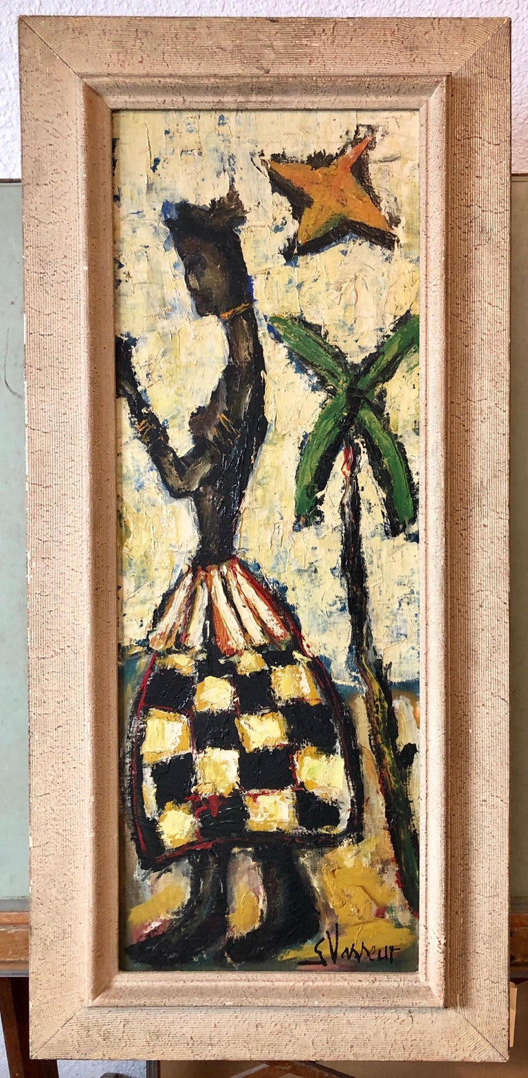 French Expressionist Impasto Oil Painting African Island Girl Kente Cloth Skirt 6