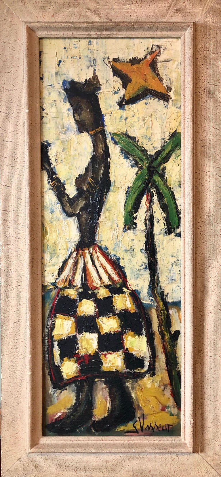 Georges Vasseur Nude Painting - French Expressionist Impasto Oil Painting African Island Girl Kente Cloth Skirt