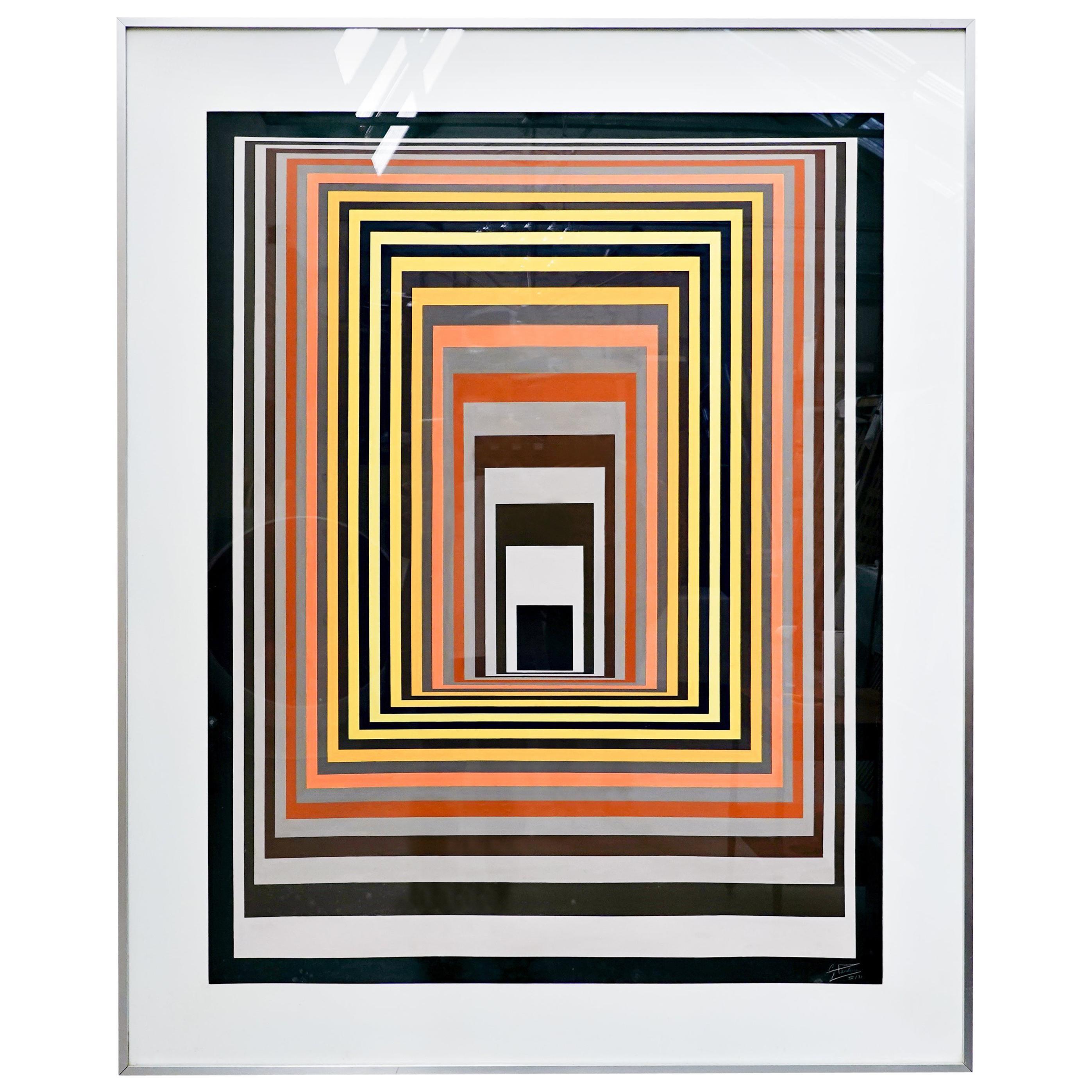 Georges Vaxelaire, Gouache on Paper, 1972, Belgium