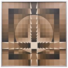 """Georges Vaxelaire, Oil on Canvas """"Composition géométrique"""", 1977, Belgium"""