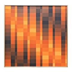 """Georges Vaxelaire, Oil on Canvas, """"Composition géométrique aux tons bruns"""", 1975"""