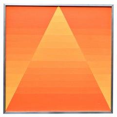 """Georges Vaxelaire, Oil on Canvas """"composition géométrique orange"""", 1973, Belgium"""