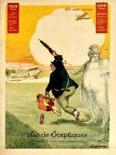 Original Vintage Poster 20 Ans Plus De Sceptiques Aviation Flights Plane Travel
