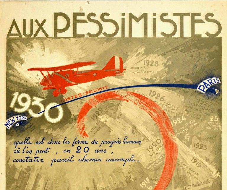 Original Vintage Poster Aux Pessimistes Paris To New York Plane Aviation Record - Print by Georges Villa