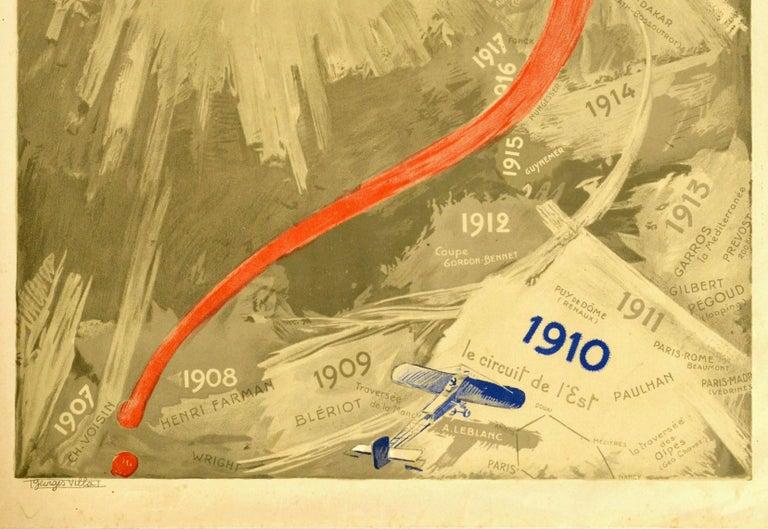 Original Vintage Poster Aux Pessimistes Paris To New York Plane Aviation Record - Beige Print by Georges Villa