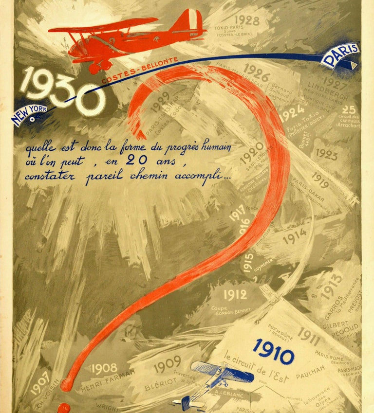 Original vintage aviation advertising poster - Aux Pessimistes / To the Pessimists - featuring a great design showing a red plane flying above a blue line joining markers from Paris to New York through the 0 of the date 1930 over a background of
