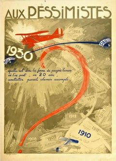 Original Vintage Poster Aux Pessimistes Paris To New York Plane Aviation Record