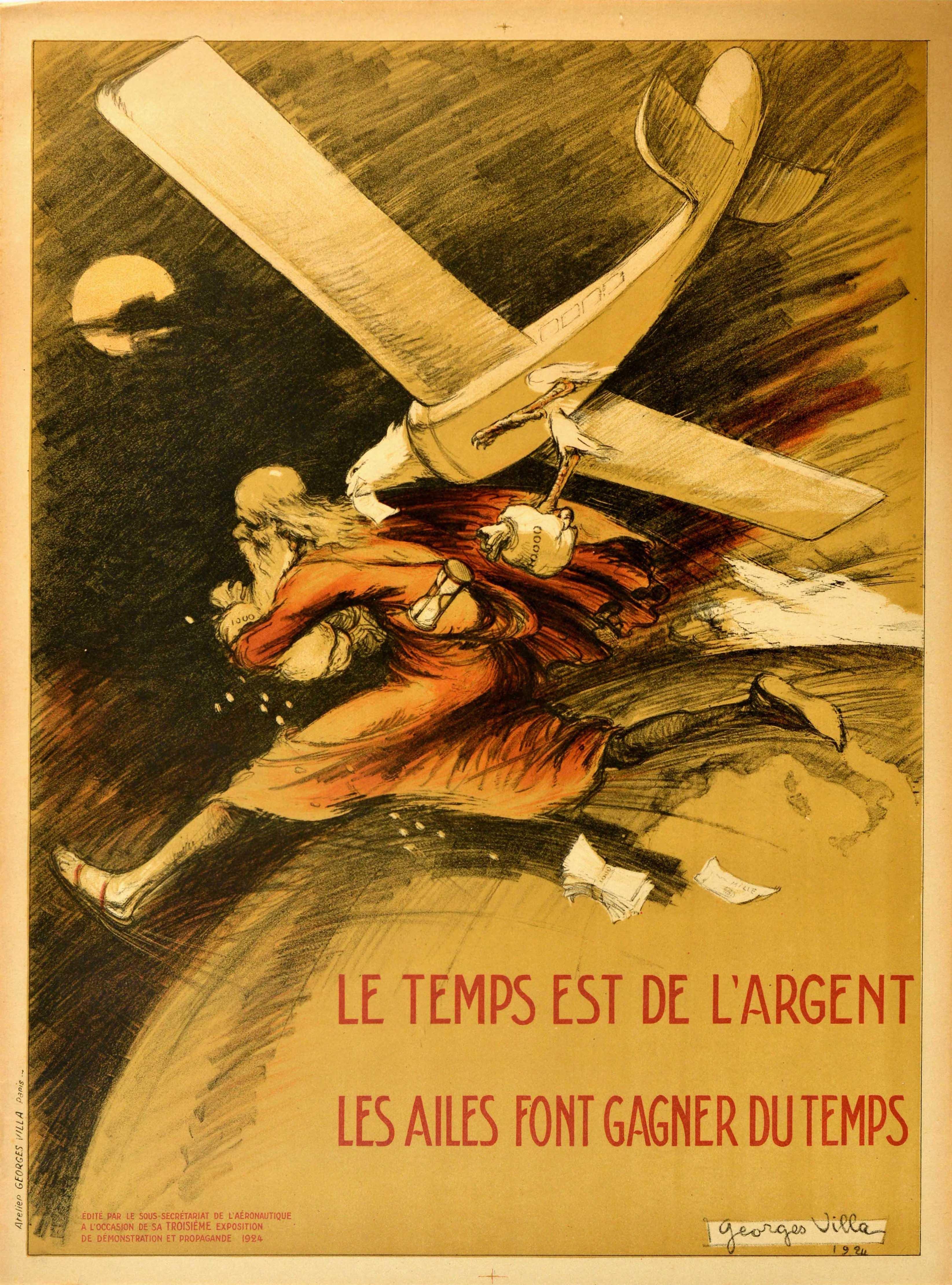 Original Vintage Poster Le Temps Est De l'Argent Time Is Money Plane Travel Art