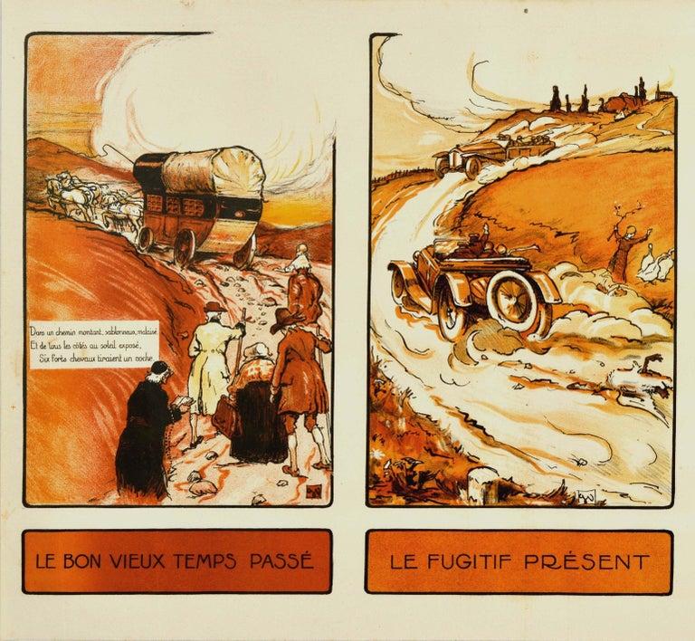 Original Vintage Poster Past Present Future Aviation Air Travel Horse Car Plane - Print by Georges Villa