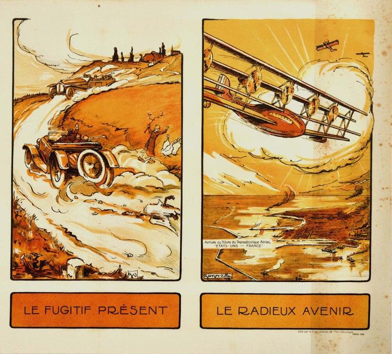 Original Vintage Poster Past Present Future Aviation Air Travel Horse Car Plane - Beige Print by Georges Villa