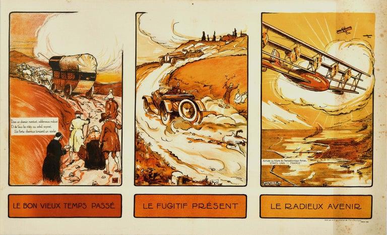 Georges Villa Print - Original Vintage Poster Past Present Future Aviation Air Travel Horse Car Plane