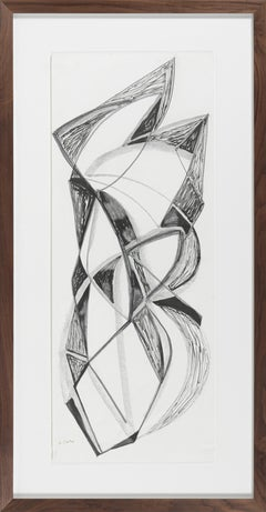 Angular Monochromatic Abstract 20th Century Ink & Charcoal
