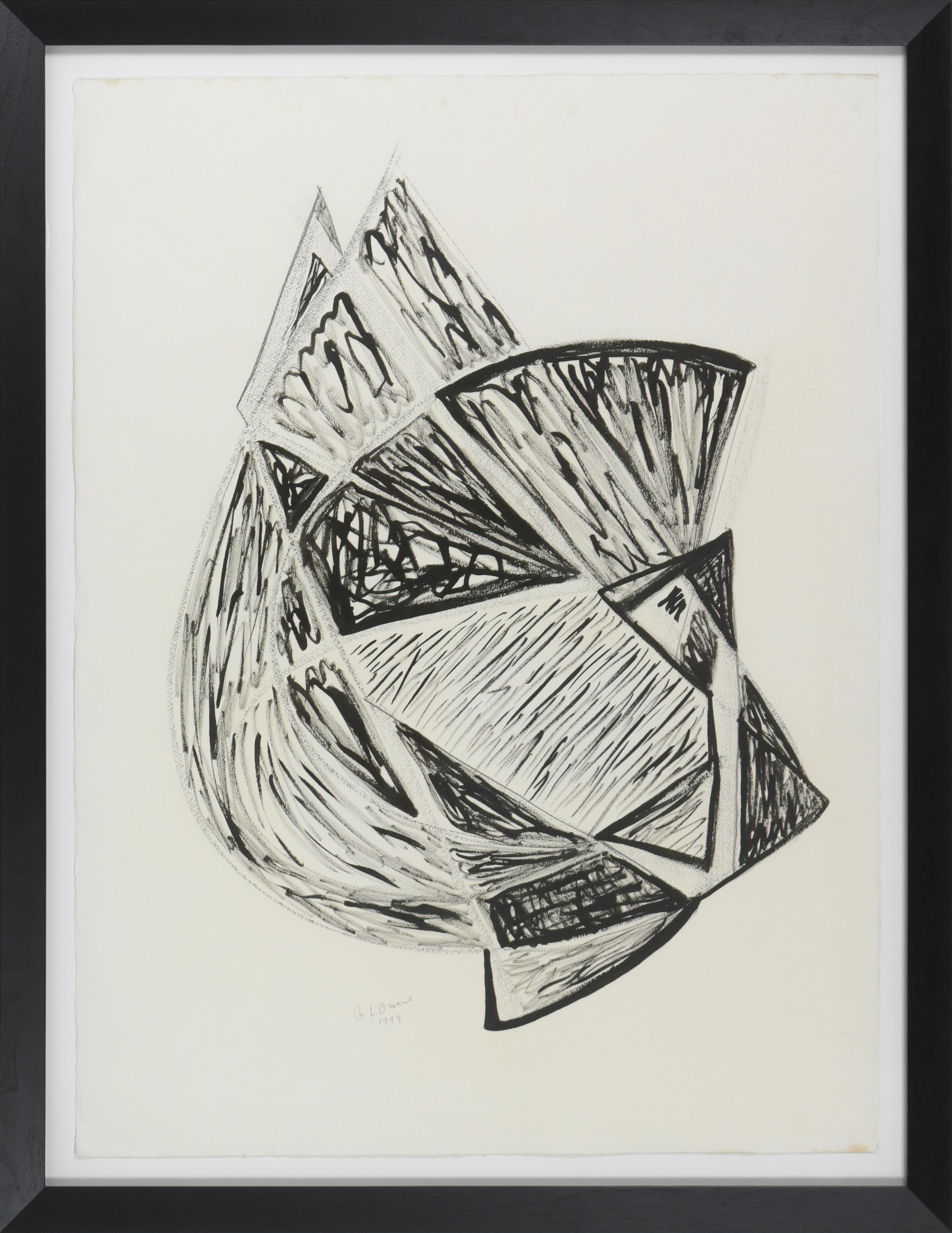 Geometric Monochromatic Abstract Ink drawing, 1998