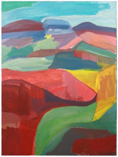 """The Canyon"" 1986 Large Colorful Abstract Landscape in Oil on Canvas"