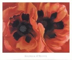 "GEORGIA O'KEEFFE Oriental Poppy 25"" x 30"" poster Modernism Red, Black"