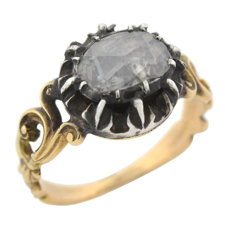 Georgian 1.00 Carat Old Rose Cut Diamond Ring In Good Condition For Sale In Narberth, PA