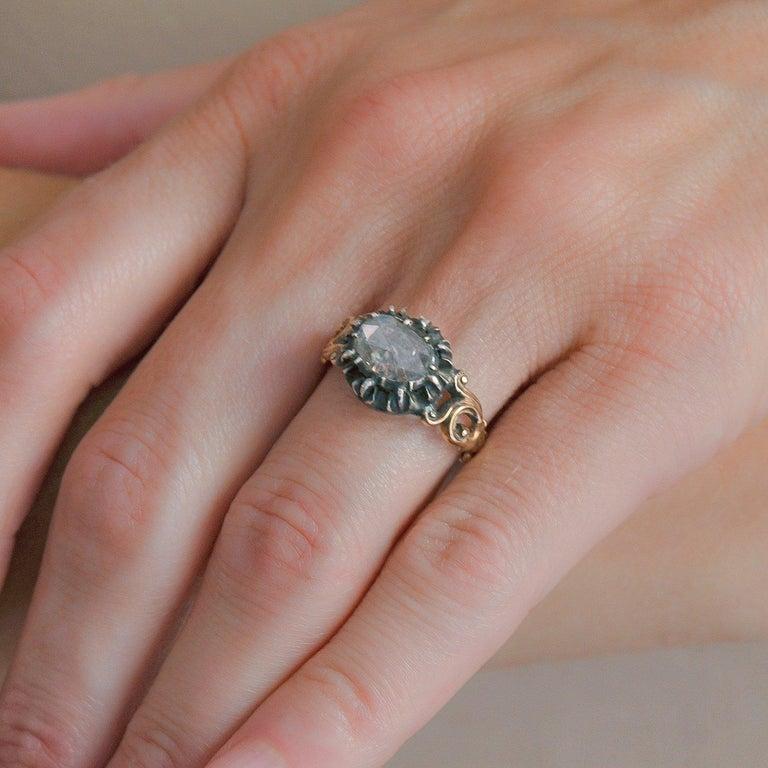 Georgian 1.00 Carat Old Rose Cut Diamond Ring For Sale 3