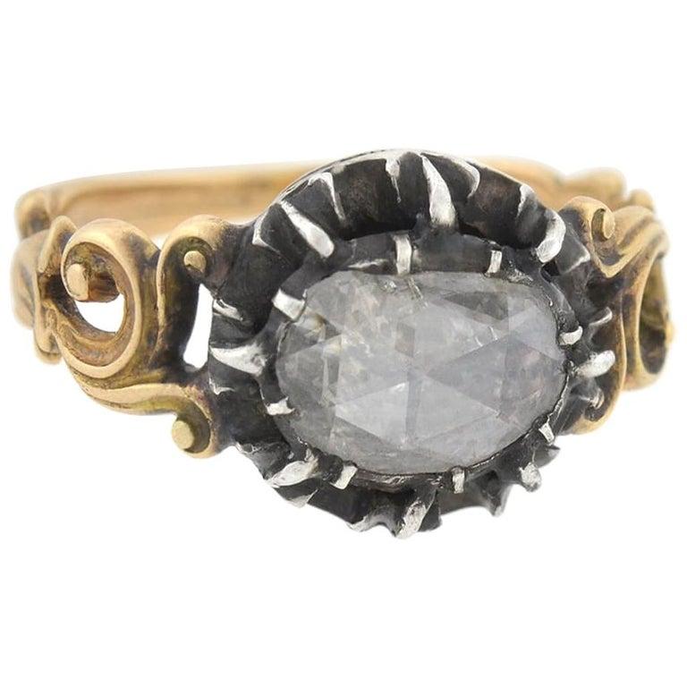 Georgian 1.00 Carat Old Rose Cut Diamond Ring For Sale