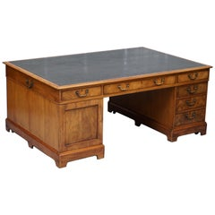 Georgian 12 Drawer 2 Cupboard Campaign Twin Pedestal Double Sided Partner Desk