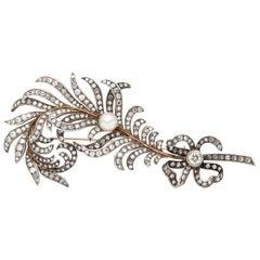 Georgian 14 Karat Feather with Diamonds Brooch