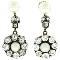 Georgian 14 Karat Gold GIA Natural Pearl Mine Diamond Halo Dangle Earrings