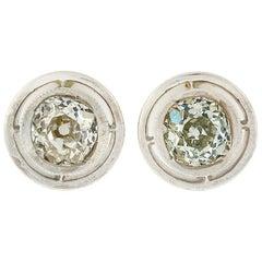 Georgian 14k Gold and Silver Top 2.0 Carat Old Mine Cut Diamond Stud Earrings