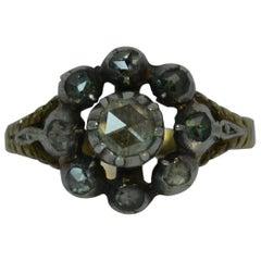 Georgian 15 Carat Gold and Rose Cut Diamond Cluster Ring