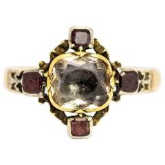 Georgian 15 Carat Gold Chrysoprase and Flat Cut Garnet Ring