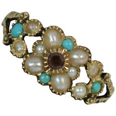 Georgian 15 Carat Gold Garnet Turquoise and Seed Pearl Daisy Cluster Ring