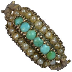 Georgian 15 Carat Gold Turquoise and Seed Pearl Cluster Stack Ring