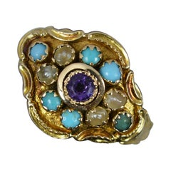 Georgian 15ct Gold Amethyst Turquoise and Pearl Cluster Ring