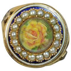 Georgian 15 Carat Gold Flower Locket Seed Pearl & Enamel Circular Cluster Ring
