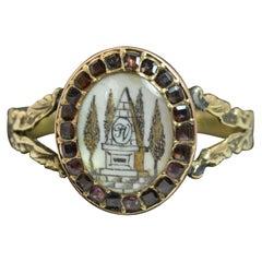 Georgian 15 Carat Gold Sepia and Flat Cut Garnet Ring