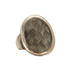 Georgian 1795 Mourning Memento Gold and Woven Hair Ring