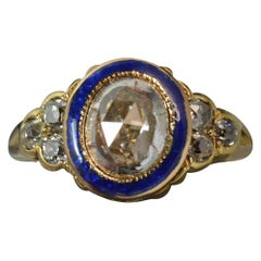 Georgian 18 Carat Gold 1 Carat Diamond Enamel Cluster Ring