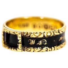 Georgian 18 Carat Gold and Black Enamel Mourning Ring