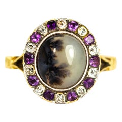 Georgian 18 Carat Gold Dendritic Agate and Diamond and Amethyst Ring