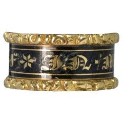 Georgian 18 Carat Gold Enamel William Mawer Mourning Band Ring
