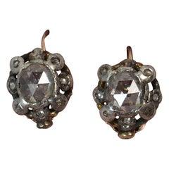 Georgian 18 Carat Gold Large Rose Cut Diamond Earrings