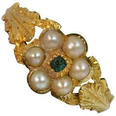 Georgischer 18 Karat Gold Perlen und Smaragd Daisy Cluster Ring