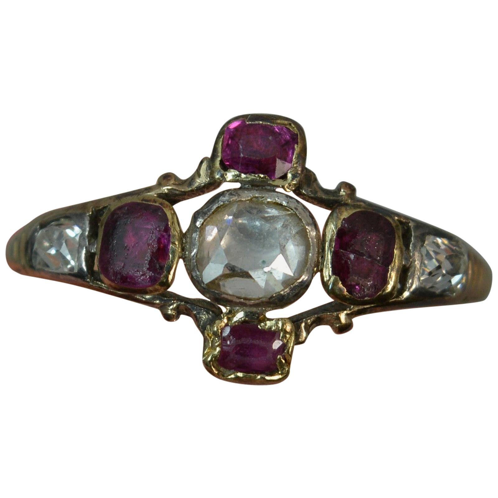 Georgian 18 Carat Gold Table Cut Diamond Ruby Ring