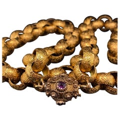 Georgian 18 Karat Gold Chain Amethyst Set Clasp