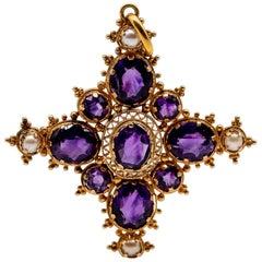 Georgian 18 Karat Gold Pearl Amethyst Cross Pendant