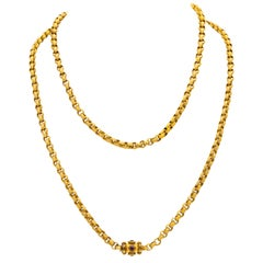 Georgian 18 Karat Yellow Gold Handmade Long Chain, circa 1820