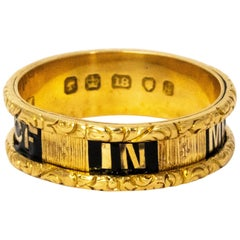 "Georgian 18 Karat Yellow Gold ""In Memory Of"" Memorial Ring"