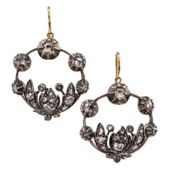 Georgian 1830s Diamond Silver Gold Drop Earrings