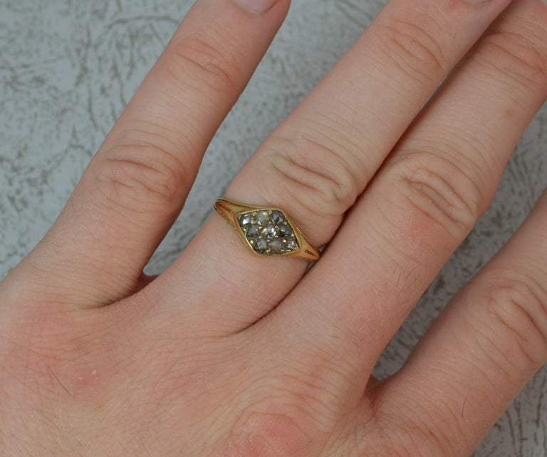 Georgian 18 Carat Gold Rose Cut Diamond Cluster Ring In Good Condition For Sale In St Helens, GB