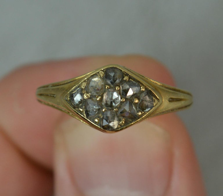 Georgian 18 Carat Gold Rose Cut Diamond Cluster Ring For Sale 2