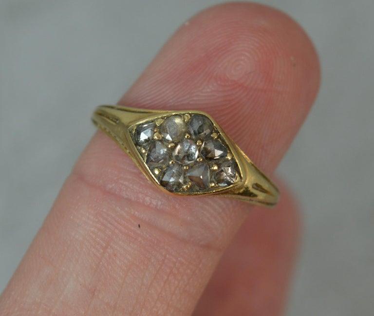 Georgian 18 Carat Gold Rose Cut Diamond Cluster Ring For Sale 3